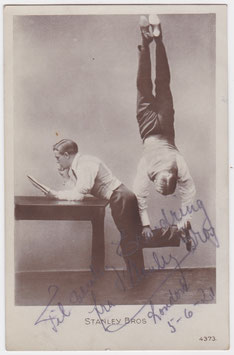 The Stanley Bros. Acrobats, dancers. 1921. Signed postcard