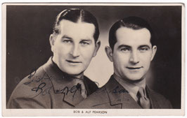 Bob and Alf Pearson. Radio personalties. Signed postcard