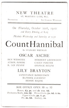 Count Hannibal. Oscar Asche, Lily Brayton. New Theatre. J Miles