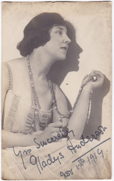 Gladys Anderson. Dated 1919. Signed postcard