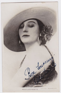 Lucie Musette. Signed postcard