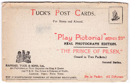 """The Prince Of Pilsen"" Tucks Pictorial Series. 5 postcards in original wallet"