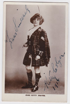 Kitty Colyer in Scottish costume. Signed postcard