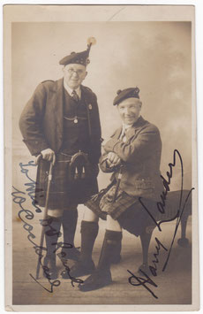 Harry Lauder and Willie Cochrane. Signed postcard