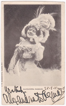 Alexandra Dagmar. Comedienne. Dated 1903. Signed postcard