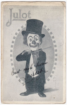 Julot the clown. Signed postcard