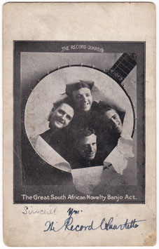 The Record Quartette. South-African Banjo Act. Signed postcard