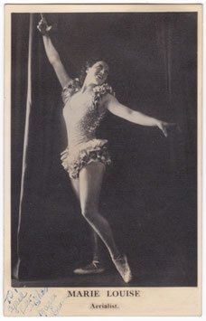 Marie Louise. Aerialist. Signed postcard