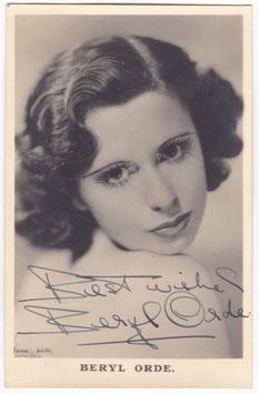 Beryl Orde. Signed postcard