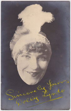 Dolly Lyndo. Comedienne. Signed postcard