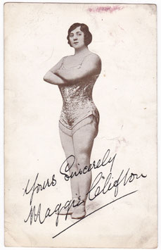 Maggie Clifton. Strong woman, gymnast. Signed postcard