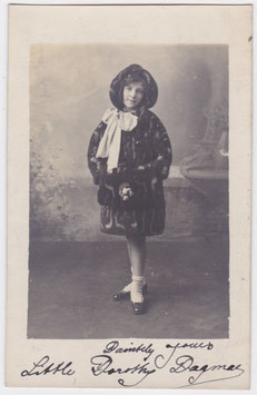Little Dorothy Dagmar. Child entertainer. Signed postcard