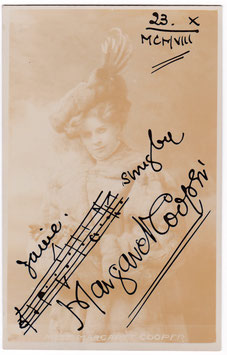Margaret Cooper. Pianist. Signed postcard