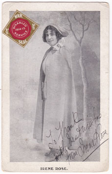 Irene Rose. Vocalist. Signed postcard