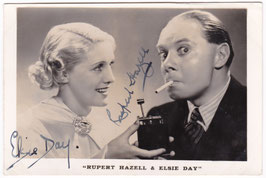 Rupert Hazell and Elsie Day. Signed postcard