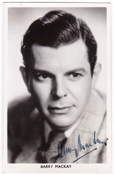 Barry Mackay. Signed postcard