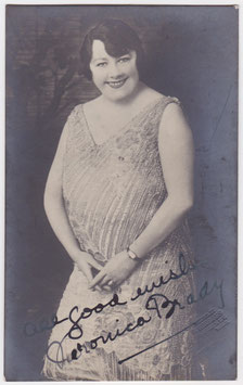 Veronica Brady. Comedienne. Signed postcard