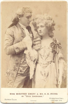 "Winifred Emery and H B Irving in ""Dick Sheridan"" Alfred Ellis cabinet photo"