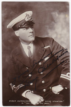"""Percy Hutchison """"The Luck of the Navy"""" Signed postcard"""