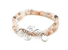 13764. Mondstein Multicolor & Silber