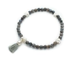 14121. Armband Larvikit und Silber 925