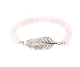 14027. Rosenquarz & Silber 925 Armband