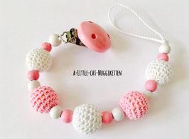 Nuggikette Häkelperlen rosa/weiss