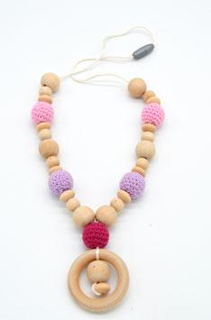 Stillkette Holz rosa/flieder/pink