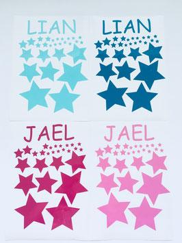 Namensaufkleber für Hochstuhl mit Sternen deluxe  (ca. 20 Sterne)
