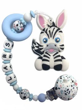 """Beisskette """"Zebra blau"""""""