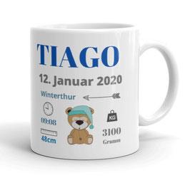 """Tasse mit Geburtsdaten """"Teddy"""""""
