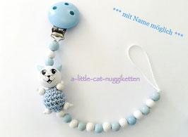 Nuggikette 3D-Katze hellblau