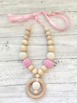 Stillkette Holz rosa/beige