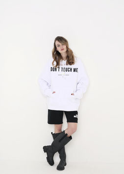 NORTH OF GERMANY ORGANIC COTTON OVERSIZED RELAXED FIT HOODIE WHITE DONT TOUCH ME DONT ASK ME