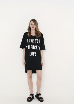 NORTH OF GERMANY LONG SHIRT BLACK LOVE YOU YOU FUCKING LOVE
