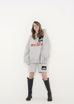 NORTH OF GERMANY ORGANIC COTTON OVERSIZED RELAXED FIT HOODIE HEATHER GREY NO WAR MORE LOVE PLEASE