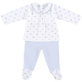 2 teil. Babyset in weiß-hellblau Nr.JS025