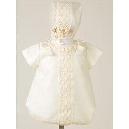 2 teil.Babyoverall für Taufe oder Hochzeit in creme Gr.50-62 Gr.0-3 months Nr.600