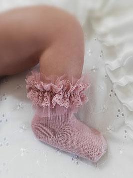 Babysöckchen mit Spitzenrüschen Nr.SK010
