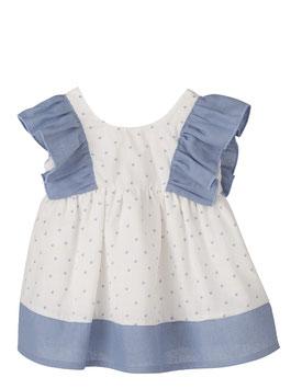 Babykleid mit blauen Punktemuster Nr.KM21/3-6/002