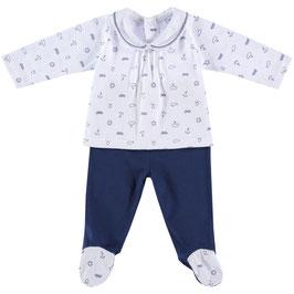 2 teil. Babyset in weiß-marine Nr. JS0024