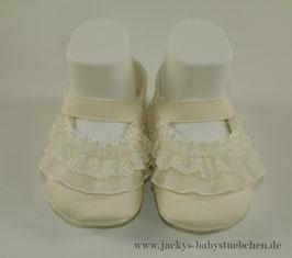 Taufschuhe in creme mit Spitze und Perlen Gr.15 size Newborn Nr.TS 001