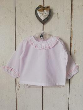 Bluse in weiß - rosa mit Rüschen Nr.OT024