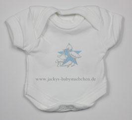 Baby Frühchenbody weiß mit blauen Storch Gr.42 Nr. 707