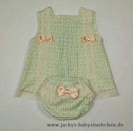 MIMOSINES 2 teil. Babykleid in grün - creme mit Spitze Gr.62 size 3 Nr.K62006