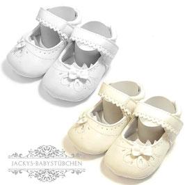 Babyschuhe mit Schleife in weiß und creme Gr. 15-17 Nr.919