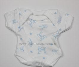 Baby Frühchen Body weiß mit blauen Storchenmuster Gr.38 Nr.107