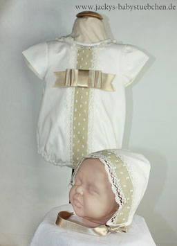 2 teil.Overall in creme-caramel mit schleife Gr.50 size 0 Nr.628