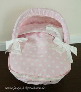 Auto-Schalensitzbezug in ,,Bolitas de Coco,,in rosa mit weißen Punkten  Nr. SALE 0014