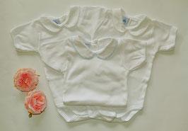 Body in weiß mit rosa, blau oder weißen Kragen Gr.62-68 Nr.Uw62003